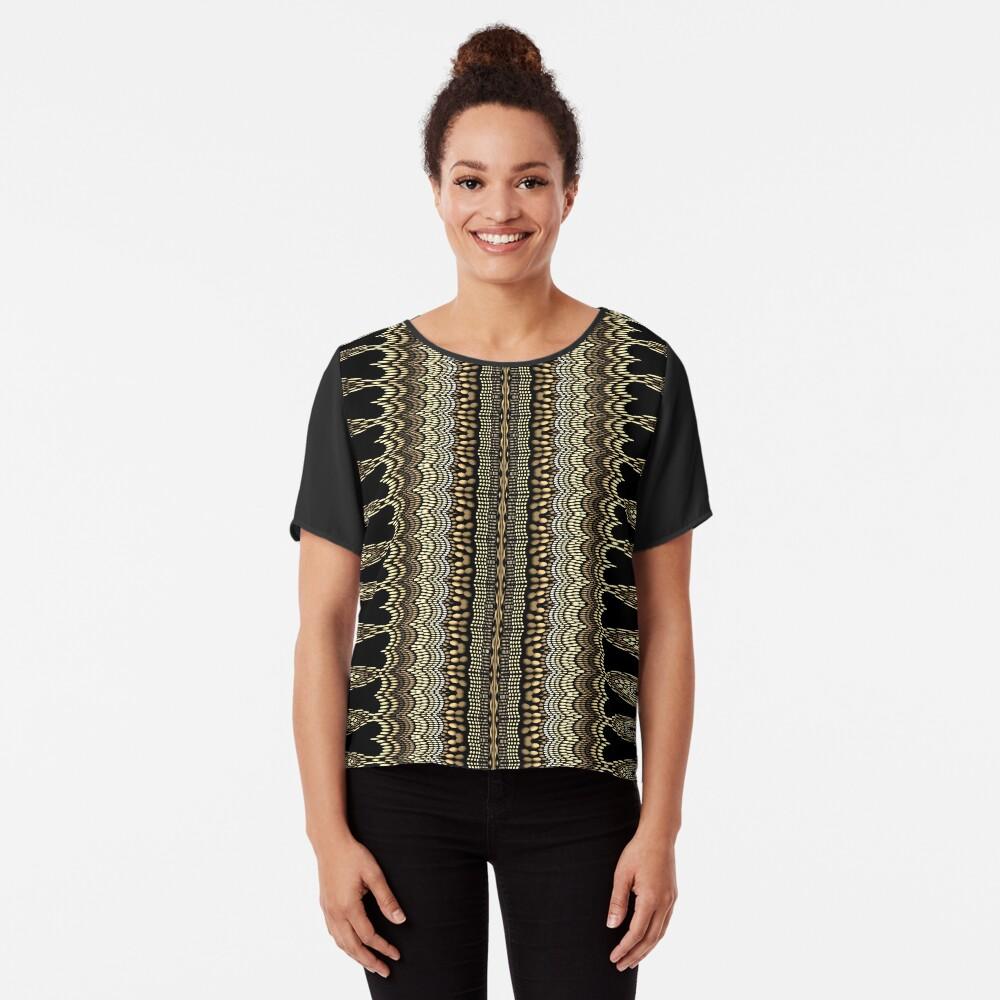 Golden Crochet Chiffon Top