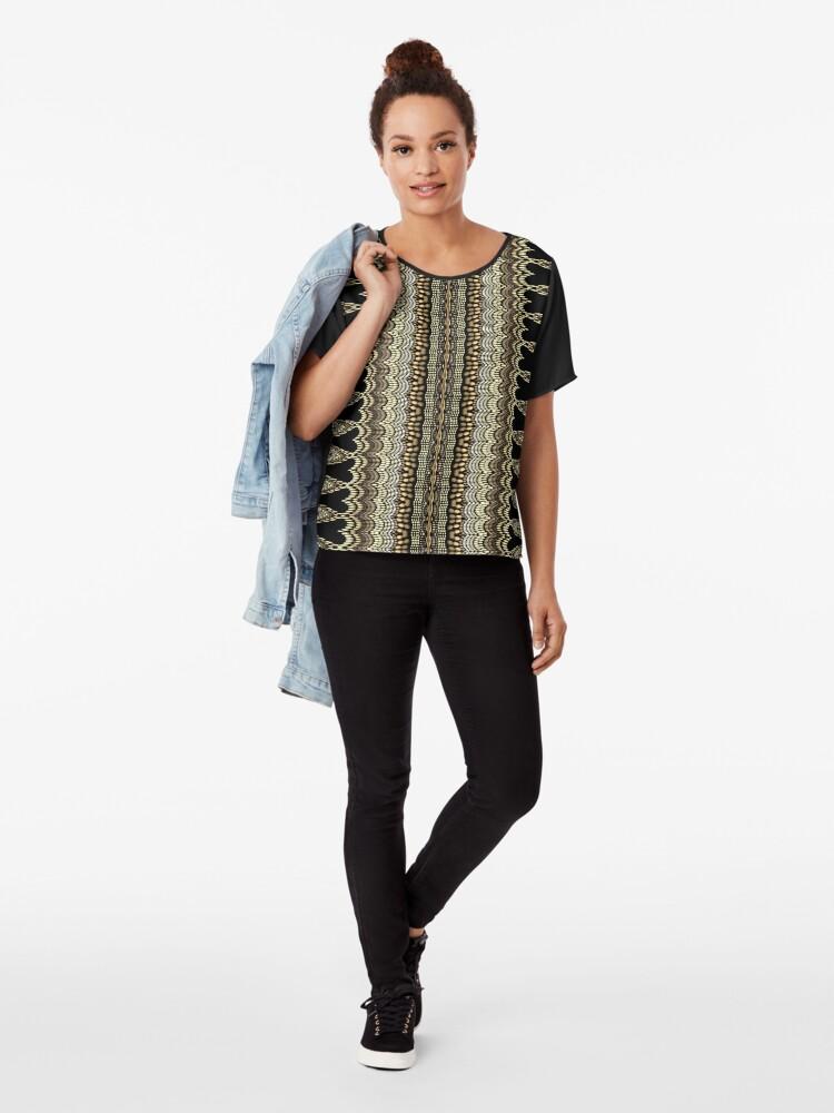 Alternate view of Golden Crochet Chiffon Top