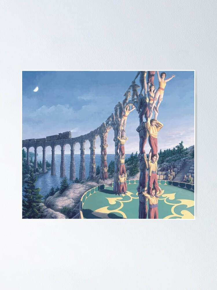 Alternate view of Rob Gonsalves Acrobatic Engineering M.C. Escher Surrealism Surrealist Art Painting Banksy Dali  Poster