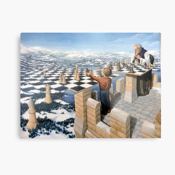 Rob Gonsalves Chessmaster M.C. Escher Surrealism Surrealist Art Painting Banksy Dali  Metal Print