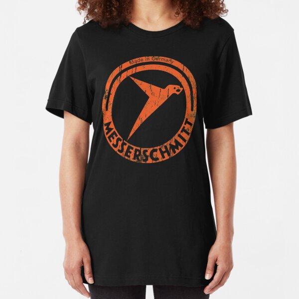 Messerschmitt German Aircraft Vintage Logo WW2  Slim Fit T-Shirt