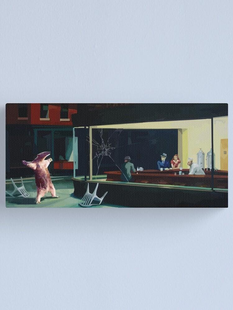 Alternate view of Banksy Nighthawks Anteater Edward Hopper Canvas Print