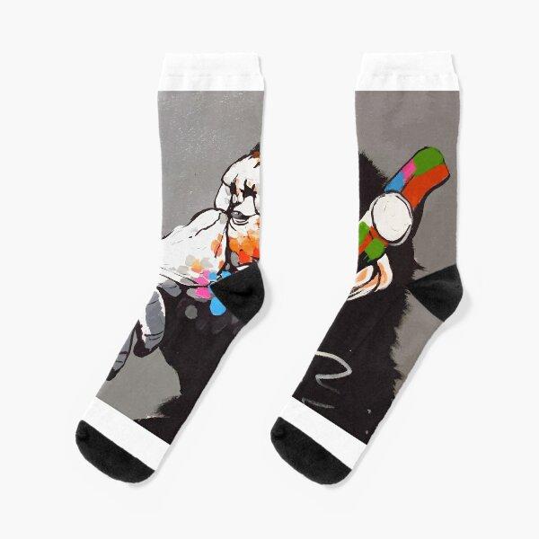 Banksy DJ Monkey Thinker with Headphones Socks