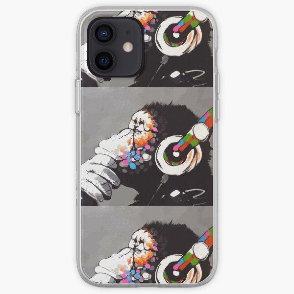 Banksy DJ Monkey Thinker avec un casque Coque souple iPhone