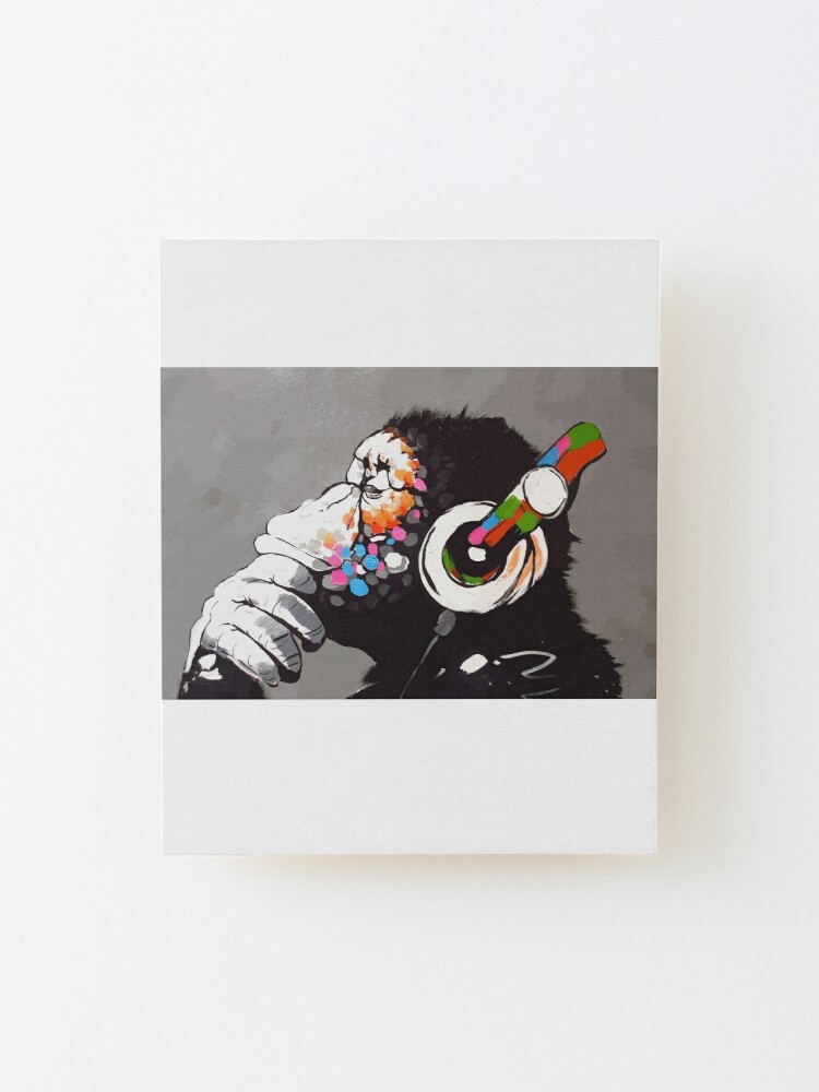 Alternate view of Banksy DJ Monkey Thinker with Headphones Mounted Print