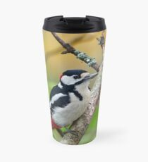 Great spotted woodpecker and the colors of the fall Travel Mug