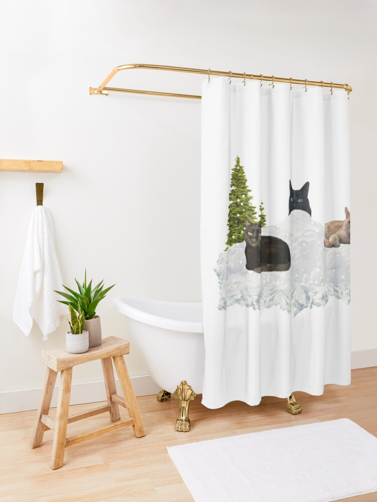 Alternate view of Blue Christmas V4 Shower Curtain