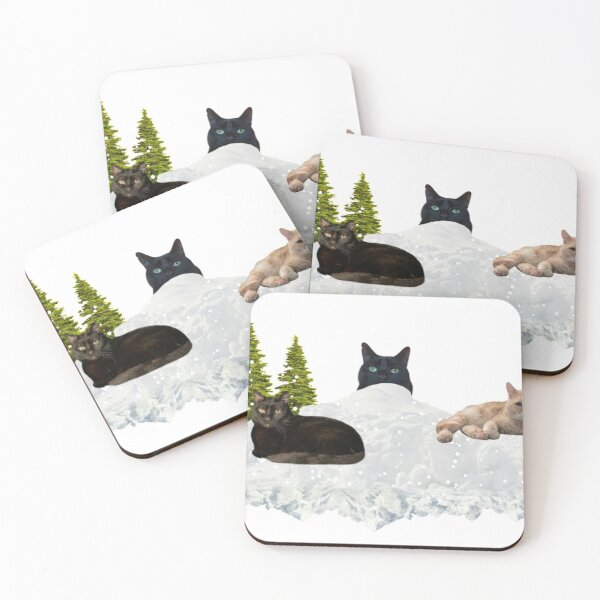 Blue Christmas V4 Coasters (Set of 4)