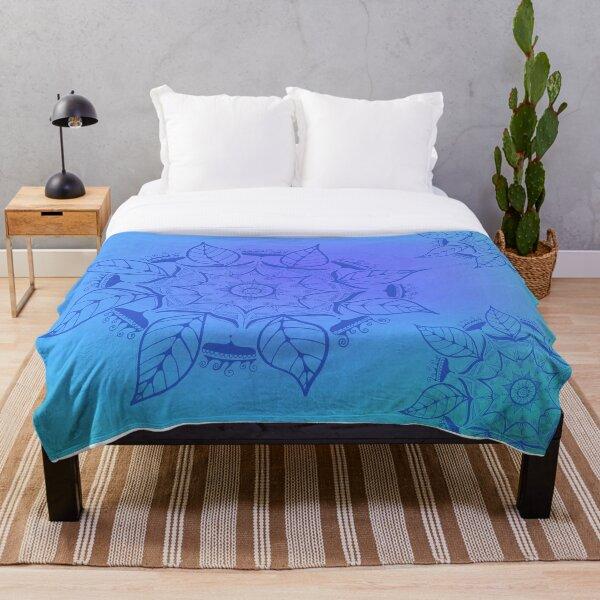 hand-painted mandala in blue Throw Blanket