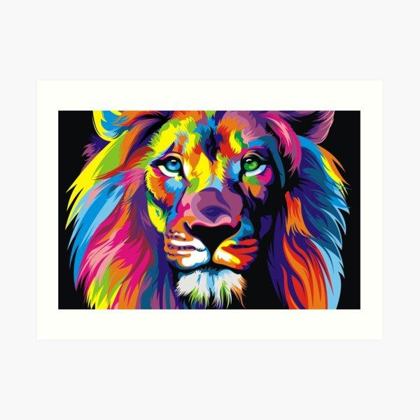 Banksy Rainbow Lion Graffiti Pop Art Pintura Lámina artística