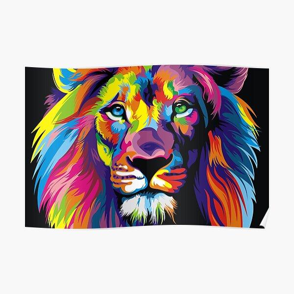 Banksy Rainbow Lion Graffiti Pop Art Painting Poster