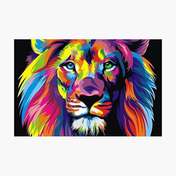 Banksy Rainbow Lion Graffiti Pop Art Painting Photographic Print