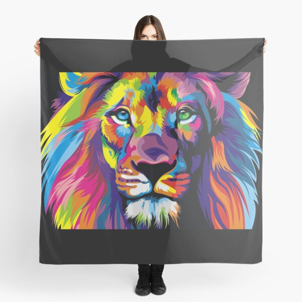 Banksy Rainbow Lion Graffiti Pop Art Painting Scarf