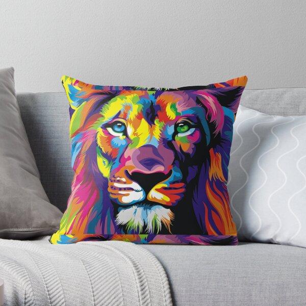 Banksy Rainbow Lion Graffiti Pop Art Painting Throw Pillow
