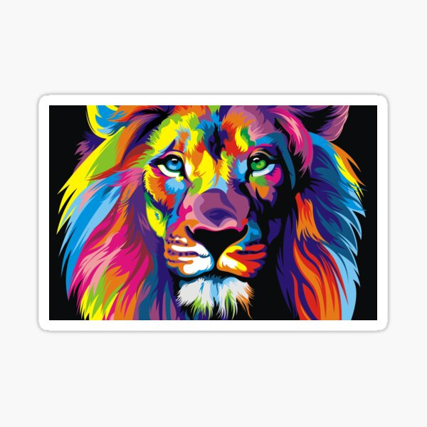 Banksy Rainbow Lion Graffiti Pop Art Painting Sticker