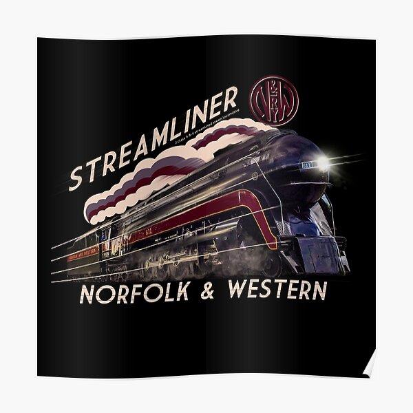 The Gorgeous Norfolk and Western Streamliner Steam Train Locomotive Engine Poster