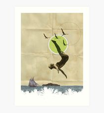 Summer -Fine Art Collage Illustration, Woman in Bathing Suit Jumping Into Sea Art Print
