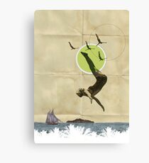 Summer -Fine Art Collage Illustration, Woman in Bathing Suit Jumping Into Sea Canvas Print