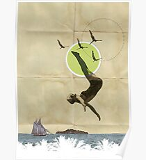 Summer -Fine Art Collage Illustration, Woman in Bathing Suit Jumping Into Sea Poster