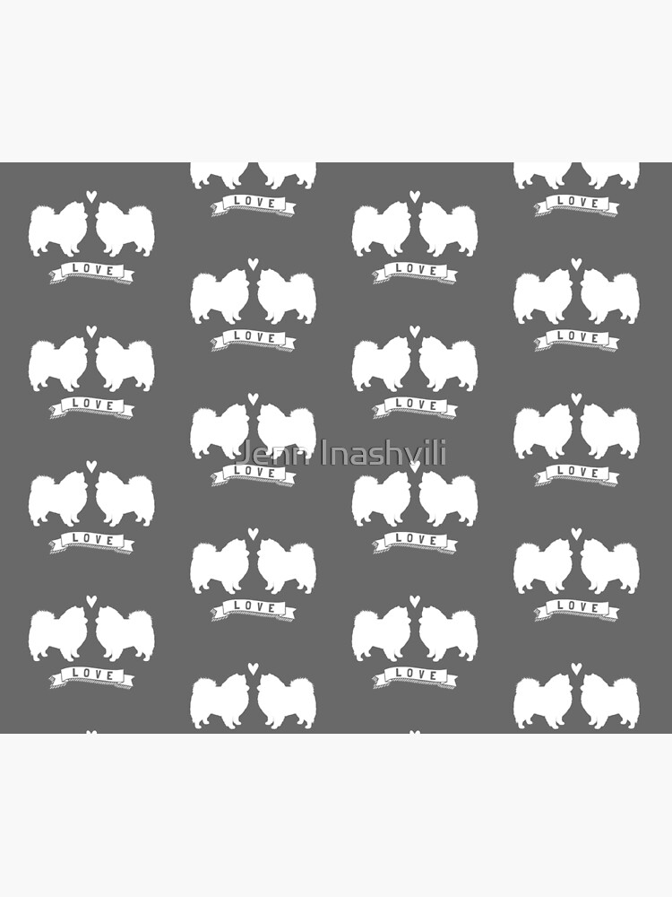 American Eskimo Dogs in Love | Eskie Silhouettes with Heart by ShortCoffee