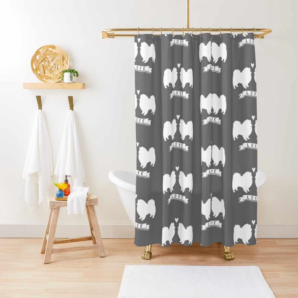 American Eskimo Dogs in Love | Eskie Silhouettes with Heart Shower Curtain