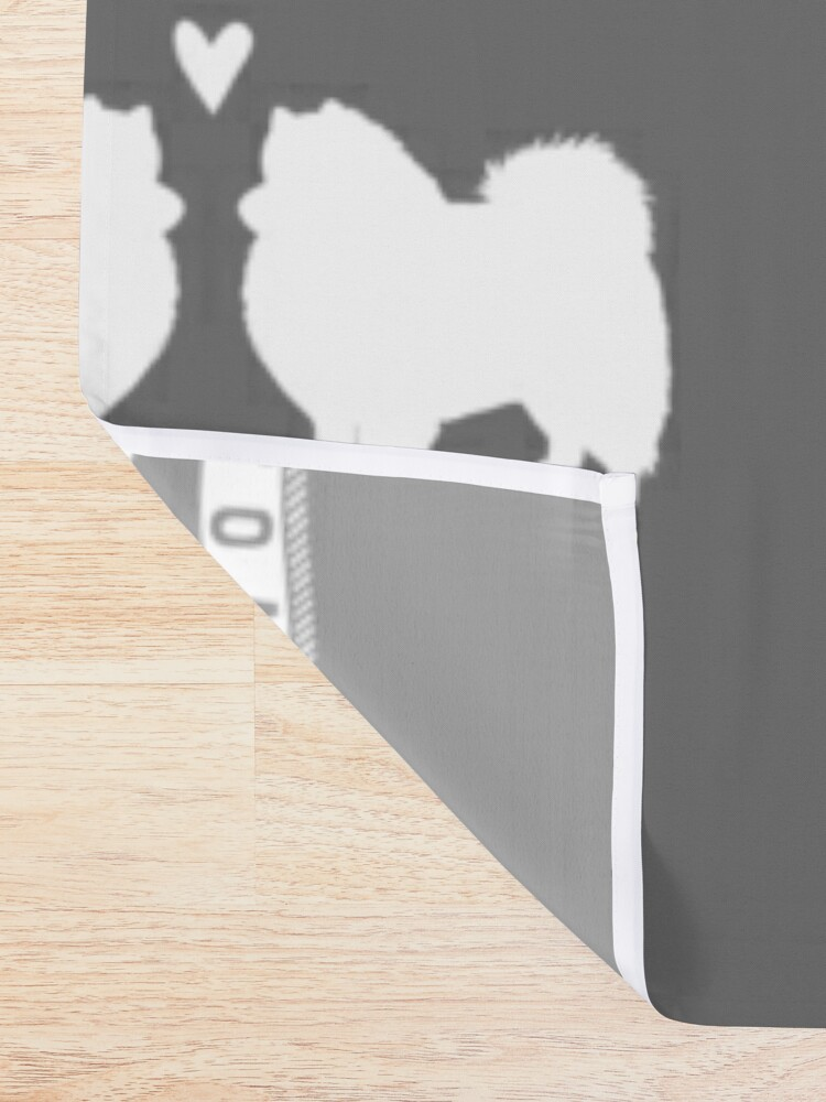 Alternate view of American Eskimo Dogs in Love | Eskie Silhouettes with Heart Shower Curtain