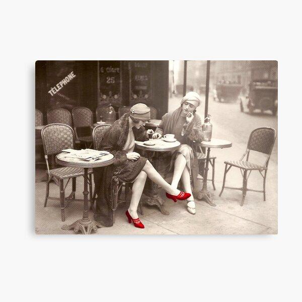Red Shoes Vintage Paris Fashion Paris Cafe Metal Print