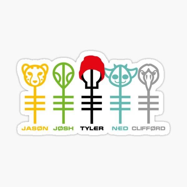 Twenty One Pilots Clique x5 - Jason, Josh, Tyler, Ned & Clifford Sticker