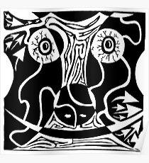 Bull Charging Rorschach Poster
