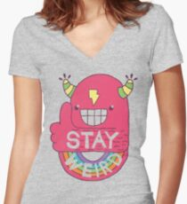 STAY WEIRD! Women's Fitted V-Neck T-Shirt