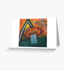 Alien space ship lost in space coming out of water and into oblivion Greeting Card
