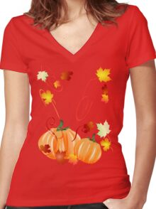 Autumn Leaves-Halloween Pumpkins Women's Fitted V-Neck T-Shirt