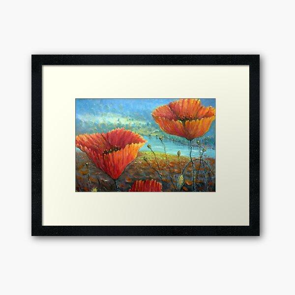 Poppy Field Provence, France Framed Art Print