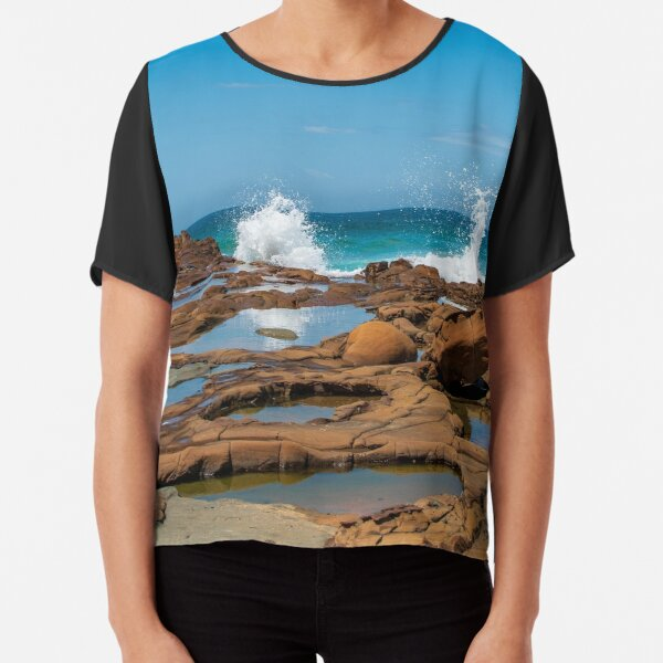 Dual Wave Splash at North Avoca Beach Australia Chiffon Top