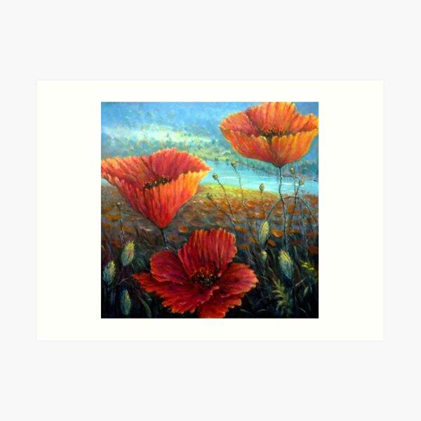 Three Poppies Provence, France Square Art Print