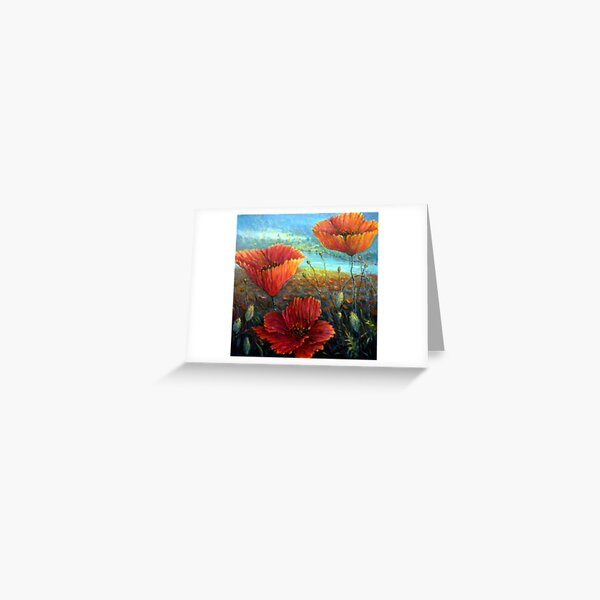 Three Poppies Provence, France Square Greeting Card
