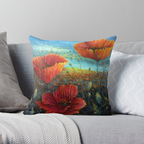 Three Poppies Provence, France Square Throw Pillow