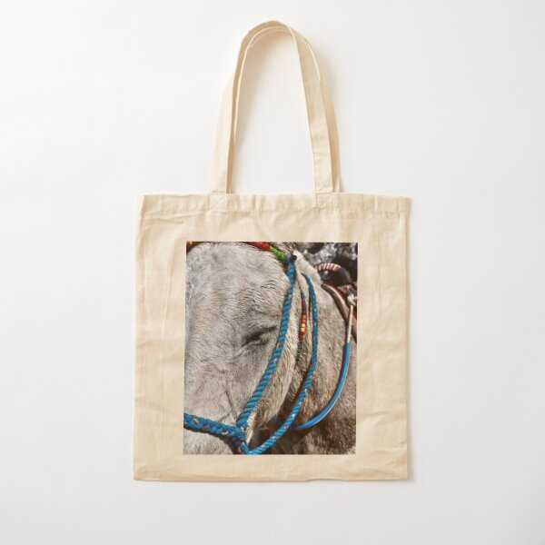 Photograph of donkey with blue bridle, Santorini Greek Islands Cotton Tote Bag