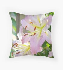 Summer Flowers Pink Lily Floral Lilies Basle Troutman Throw Pillow
