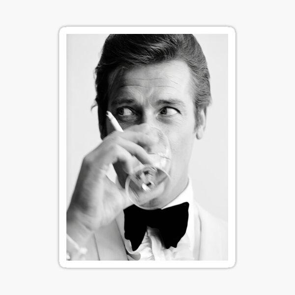 Roger Moore con Martini Retro Vintage Poster Pegatina