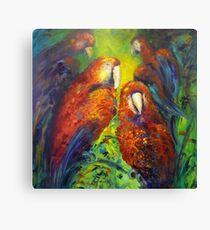 Gossiping parrots Canvas Print