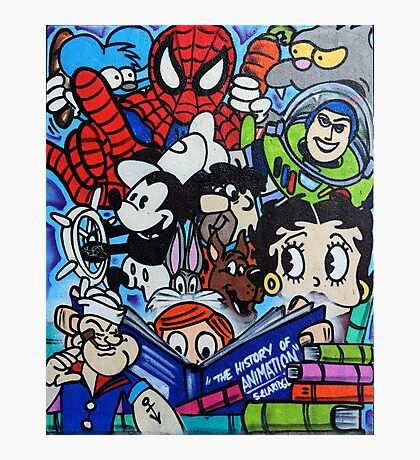 Comic book mural outside Birmingham Central Library Photographic Print