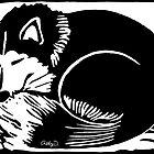 Sleeping Black and White Husky Dog by Abigail Davidson