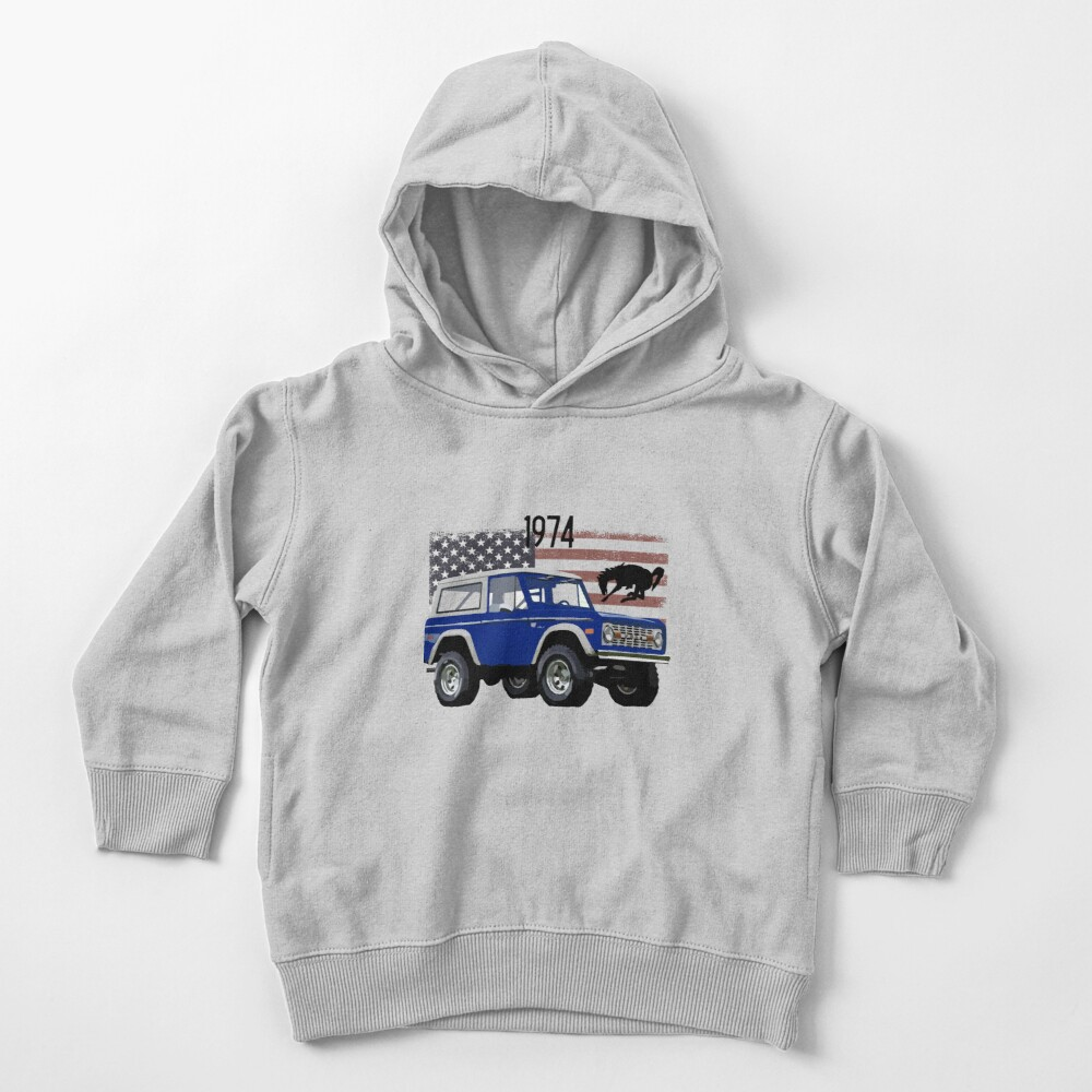 1974 Blue Ford Bronco Toddler Pullover Hoodie
