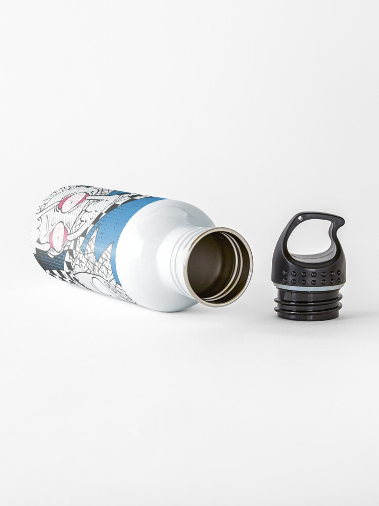 Alternate view of Open Your Eyes - Pretty Cool Retro Abstract Doodle Stripes Chess of Rick and Morty™  Water Bottle