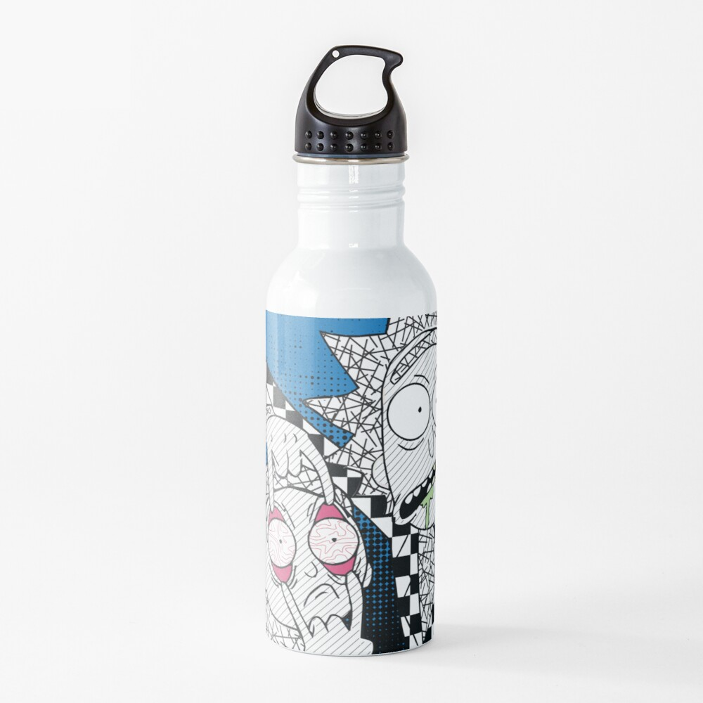 Open Your Eyes - Pretty Cool Retro Abstract Doodle Stripes Chess of Rick and Morty™  Water Bottle