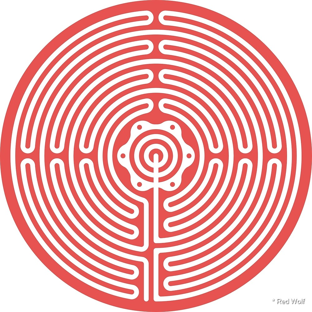 Geometric Pattern: Labyrinth: Red Light by * Red Wolf