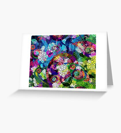 Colorful Abstract Swirls And  Flowers Collage Greeting Card