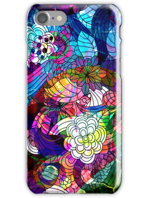 Colorful Abstract Swirls And  Flowers Collage by artonwear