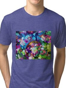 Colorful Abstract Swirls And  Flowers Collage Tri-blend T-Shirt